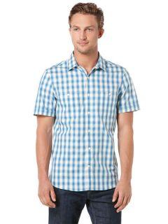 Perry Ellis Mens Short Sleeve Two Pocket Check Shirt