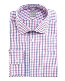 Mens Check Dress Shirt, Blue/Pink   Ike Behar   Pink (15R)