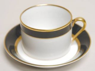 Fitz & Floyd Renaissance Black On White Flat Cup & Saucer Set, Fine China Dinner