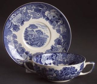 Enoch Wood & Sons English Scenery Blue (Blue Backs,Smooth) Flat Cream Soup Bowl