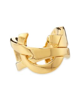 Golden YSL Logo Ring   Saint Laurent   Gold (6)