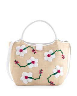 Crocodile/Straw Flower Tote Bag, White/Pink/Green   Nancy Gonzalez