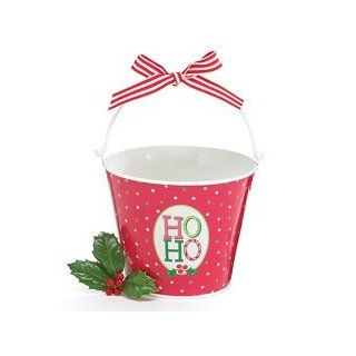 Ho Ho Red & Green Polka Dot Pail Santa Says Christmas   Christmas Decor