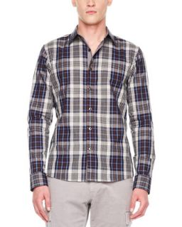 Mens Kenyon Check Shirt   Michael Kors   Heather gray (XX LARGE)