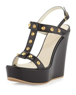 Erin Golden Studded Leather Pump, Black/Gold   Dee Keller