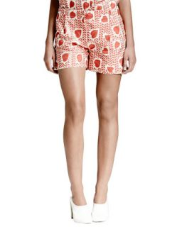 Womens Heart & Lip Print Pleated Shorts, Medium Pink   Stella McCartney