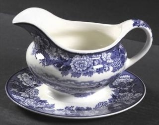 Enoch Wood & Sons English Scenery Blue (Blue Backs,Smooth) Gravy Boat with Attac