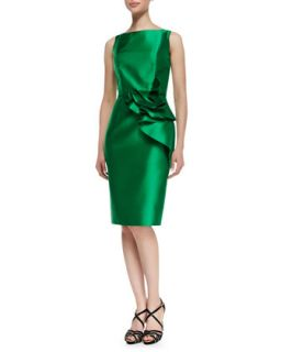 Womens Sleeveless Ruffle Waist Cocktail Dress, Kelly Green   Carmen Marc Valvo