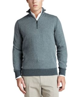 Mens Roadster Half Zip Cashmere Sweater, Green   Loro Piana   Green (50/M)