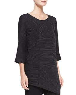 Womens Rib Wave Easy Tunic, Black   Caroline Rose   Black (MEDIUM (10))