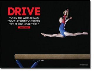 "Female Gymnastics Poster. Gymnast Inspiration & Motivation for Girl. 18"" x 24"" Laminated. Features the quote, ""When the world says 'give up, ' hope whispers 'try it one more time.' "" : Prints : Everything Else"