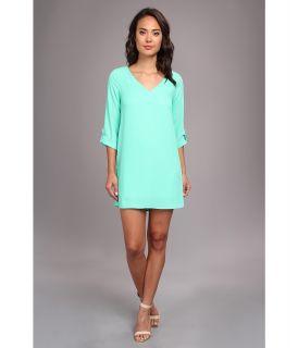 Brigitte Bailey Ellie 3/4 Sleeve Shift V Neck Dress Womens Dress (Green)