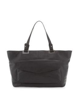 Abbey East West Leather Tote Bag, Black   Rachel Zoe