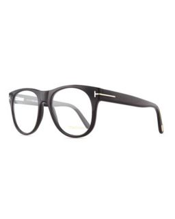 Mens Round Acetate Fashion Glasses, Black   Tom Ford   Black