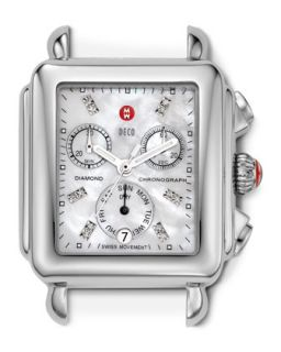Deco Diamond Stainless Steel Watch Head, Engravable   MICHELE   Silver
