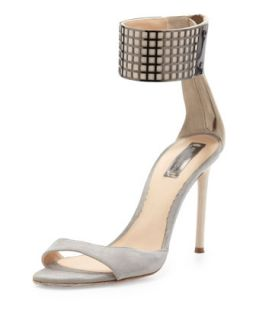 Ankle Wrap Grid Sandal, Gray/Nude   Reed Krakoff   Gray/Nude (38.5B/8.5B)