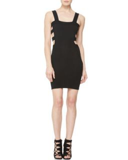 Womens Cutout Body Con Dress   McQ Alexander McQueen   Velvet black (MEDIUM)