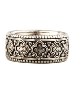 Mens Carved Sterling Silver Band Ring, Size 10   Konstantino   Tan