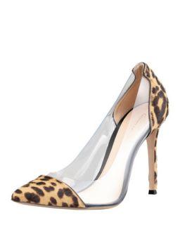 Leopard Print Calf Hair PVC Pump   Gianvito Rossi   Leopard (37.5B/7.5B)