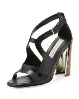 Wooden Heel Cutout Sandal   Stella McCartney   Black (40.0B/10.0B)