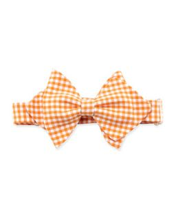 Gingham Baby Bow Tie, Orange   Orange