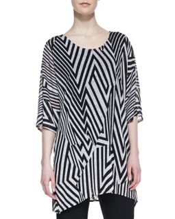 Divided Lines Knit Tunic, Womens   Caroline Rose   Black/White (1X (16/18))