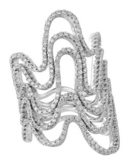 18k White Gold 5 Row Diamond Wave Ring   A Link   White (6.5)