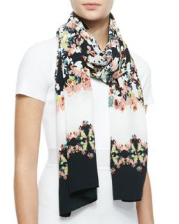 Long Silk Peabody Wallpaper Floral Scarf, Black/White/Multi   Erdem
