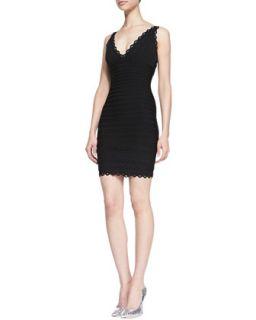 Womens V Neck Scalloped Sleeveless Dress   Herve Leger   Black (LARGE)