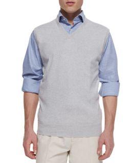 Mens V Neck Sweater Vest, Gray   Peter Millar   Dark gray (LARGE)