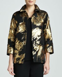 Womens Abstract Painterly Printed Jacket, Petite   Caroline Rose   Gold/Black