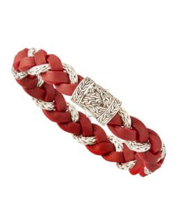 Mens Chain Woven Braided Leather Bracelet, Red   John Hardy   Red