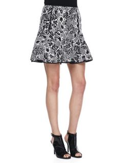 Womens Mixed Print Jacquard Fit And Flare Skirt, Black/White   Robbi & Nikki