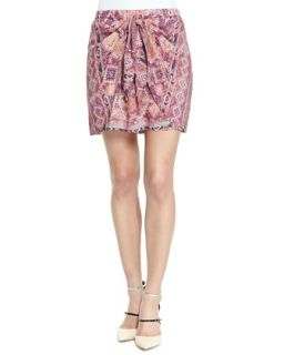 Womens Printed Tie Front Skirt   Three Dots   Dahlia combo (LARGE)