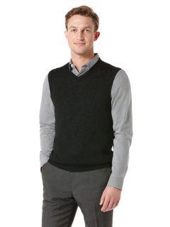 Perry Ellis Mens Linen Solid V Neck Sweater Vest