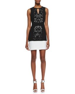 Womens Halter Laser Cut Sheath Dress, Black/Optic White   Ali Ro   Black/Optic