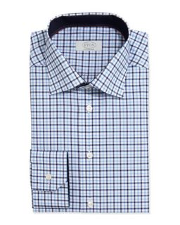 Mens Check on White Dress Shirt, Light Blue   Eton   Lt blue (17 1/2)