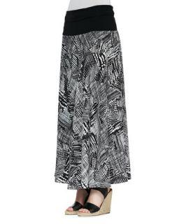Womens Graphic Print Maxi Skirt   Indikka   Black/White (LARGE/12 14)