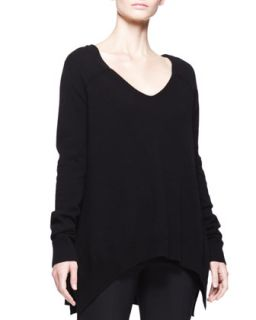 Womens Cashmere V Neck Trapeze Sweater   THE ROW   Black (MEDIUM)