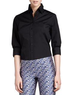 Womens Three Quarter Sleeve Classic Shirt   Carolina Herrera   Black (2)