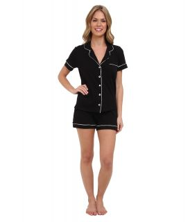 BOTTOMS O.U.T GAL Knit Short Sleeve PJ Set w/ Shorts Womens Pajama Sets (Black)