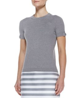 somerset short sleeve sweater, casino gray   kate spade new york