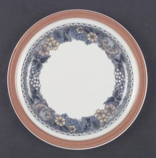 Goebel Burgund Salad Plate, Fine China Dinnerware   Country,Rust Rim,Yellow,Blue