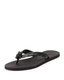 Mens Crocodile Thong Sandal, Black   Bottega Veneta   Black (41/8D)