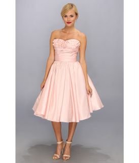 Unique Vintage Going Steady Taffeta Strapless Party Dress Womens Dress (Orange)
