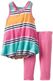Splendid Littles Girls 2 6X Cabana Stripe Tunic Set, Caribbean, 2T: Pants Clothing Sets: Clothing