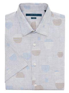 Perry Ellis Mens Slim Fit Short Sleeve Dot Shirt