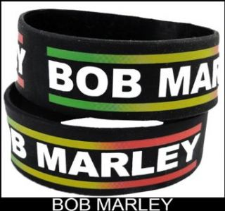 Bob Marley Zion Designer Rubber Saying Bracelet (Black): Clothing