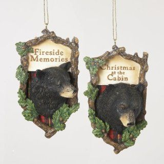 "Pack of 12 Rustic Lodge Black Bear Plaque with Saying Christmas Ornaments 4""   Decorative Hanging Ornaments"