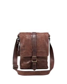 Mens Logan Leather Messenger Bag, Small   Frye   Dark brown